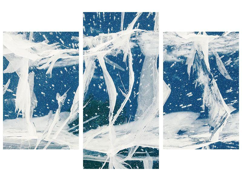 Klebeposter 3-teilig modern Eiskristalle