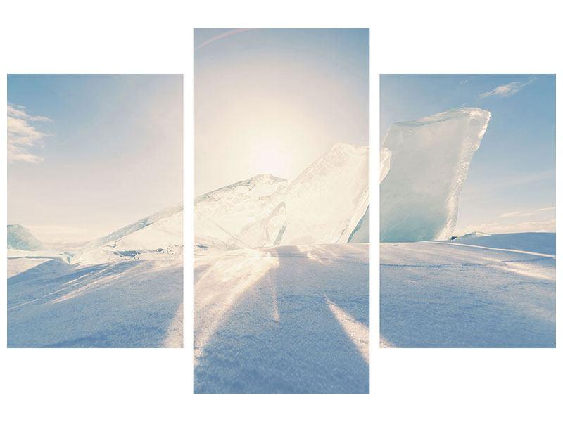 Klebeposter 3-teilig modern Eislandschaft