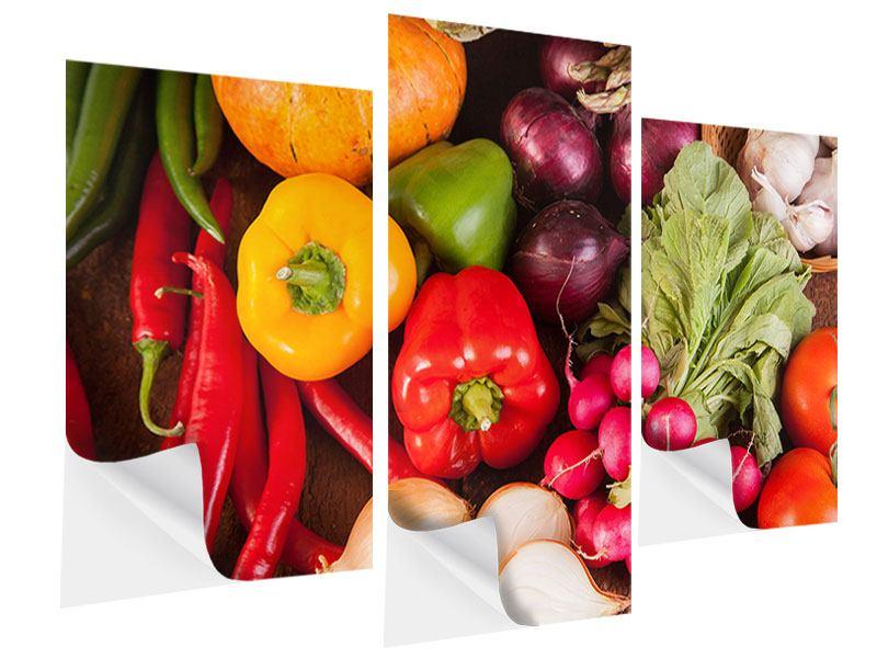 Klebeposter 3-teilig modern Gemüsefrische
