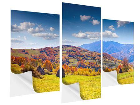 Klebeposter 3-teilig modern Herbstliche Berglandschaft