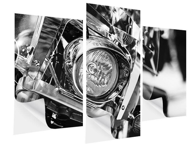 Klebeposter 3-teilig modern Motorrad Close Up