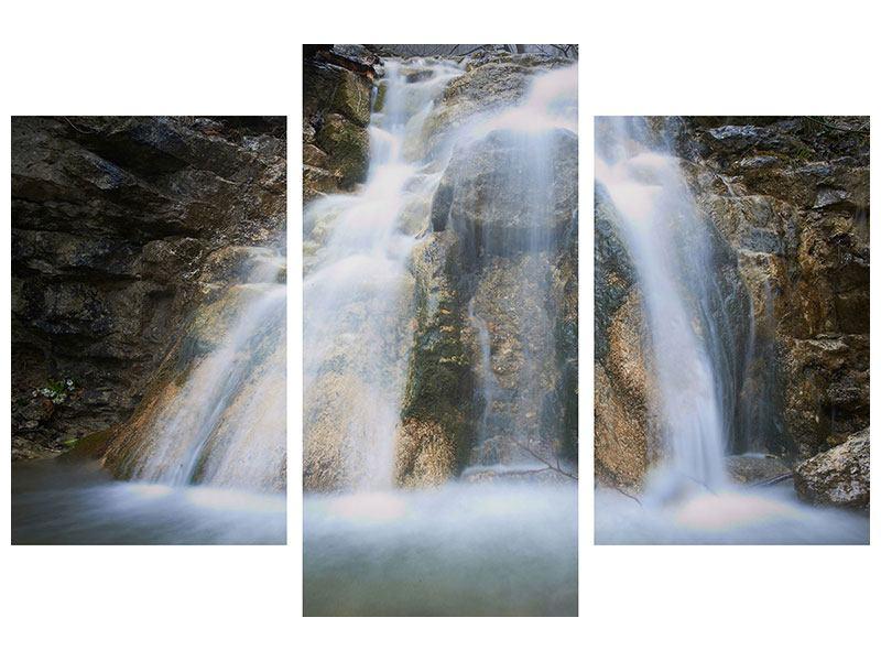 Klebeposter 3-teilig modern Imposanter Wasserfall