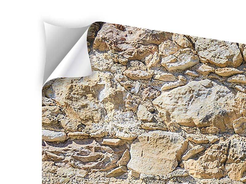 Klebeposter 3-teilig modern Sandsteinmauer