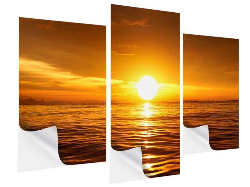 Klebeposter 3-teilig modern Glühender Sonnenuntergang am Wasser