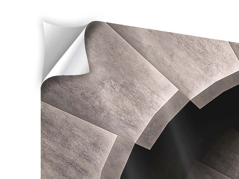 Klebeposter 3-teilig modern Steinwendeltreppe