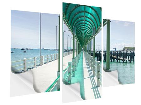 Klebeposter 3-teilig modern Die Brücke am Meer