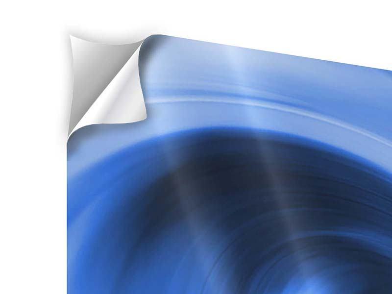 Klebeposter 3-teilig modern Abstrakte blaue Welle