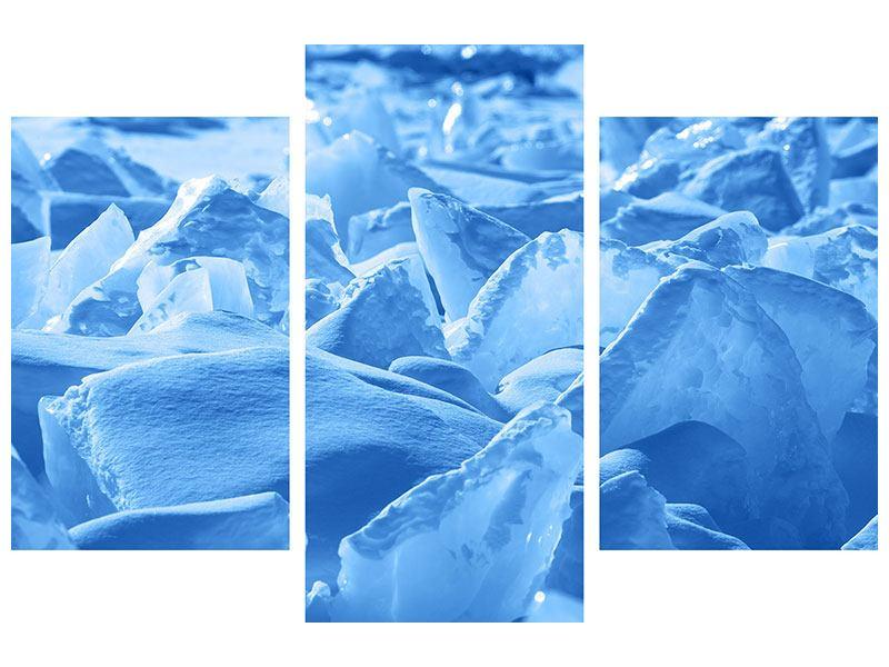 Klebeposter 3-teilig modern Eis des Baikalsees
