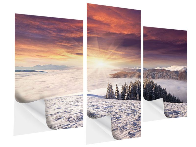 Klebeposter 3-teilig modern Sonnenaufgang Winterlandschaft