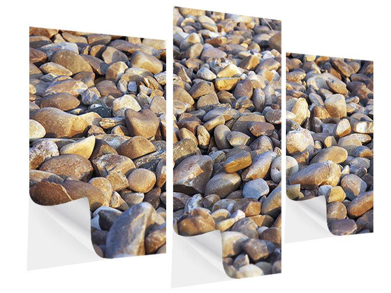 Klebeposter 3-teilig modern Strandsteine