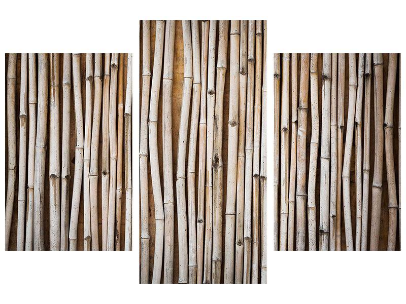 Klebeposter 3-teilig modern Getrocknete Bambusrohre
