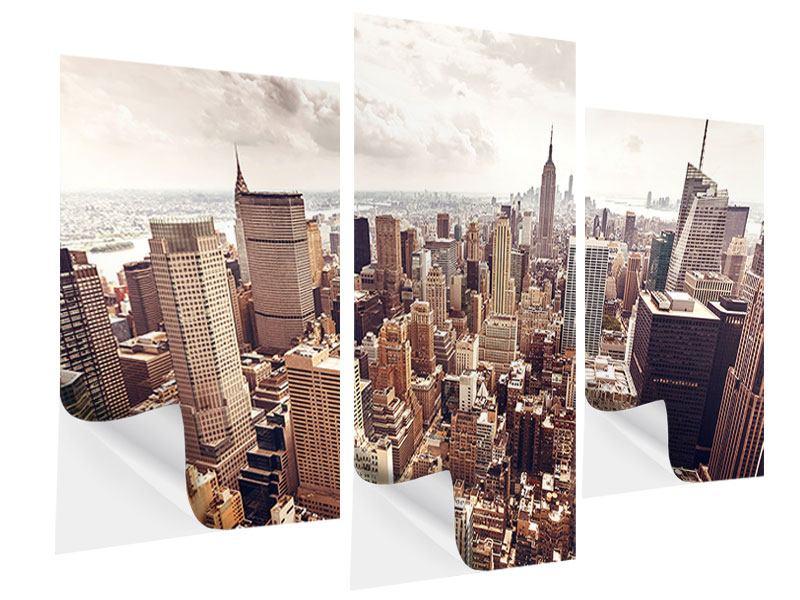 Klebeposter 3-teilig modern Skyline Über den Dächern Manhattans