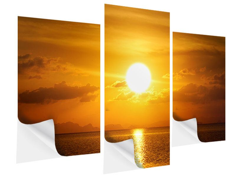 Klebeposter 3-teilig modern Sonnenuntergang See