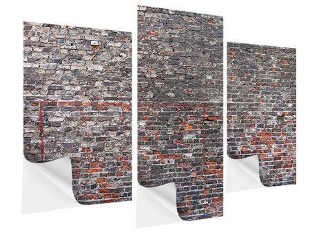 Klebeposter 3-teilig modern Alte Backsteine