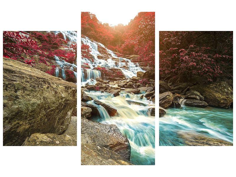 Klebeposter 3-teilig modern Exotischer Wasserfall