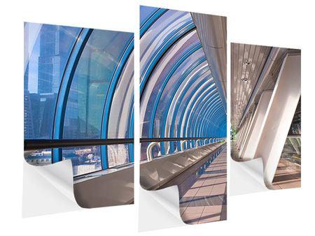 Klebeposter 3-teilig modern Hypermoderne Brücke