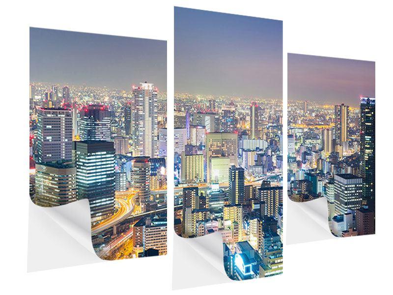 Klebeposter 3-teilig modern Skyline Osaka bei Sonnenuntergang