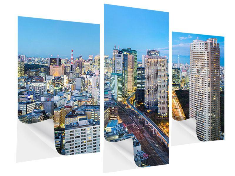 Klebeposter 3-teilig modern Skyline Tokio im Lichtermeer