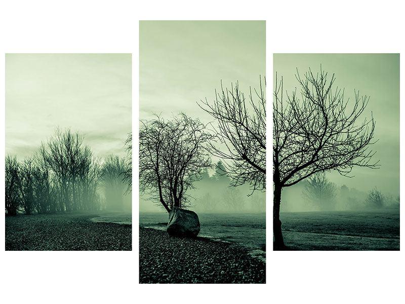 Klebeposter 3-teilig modern Der Auwald im Nebel