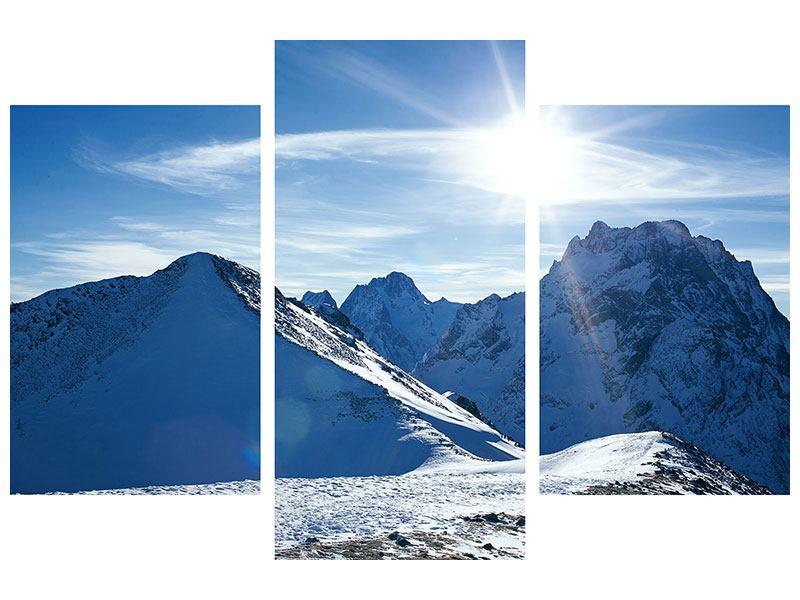 Klebeposter 3-teilig modern Der Berg im Schnee