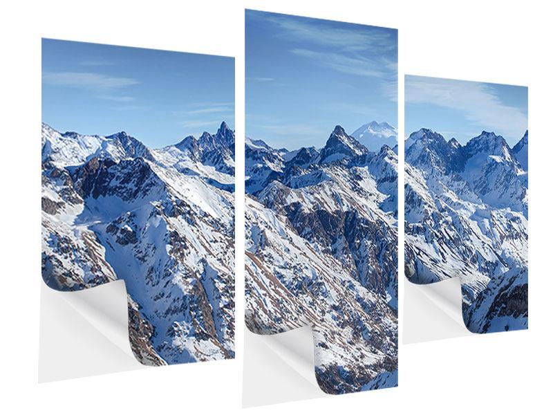 Klebeposter 3-teilig modern Gipfelspitzen