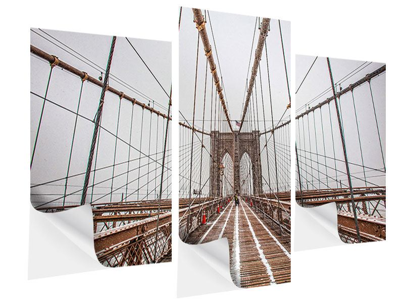 Klebeposter 3-teilig modern Auf der Brooklyn Bridge