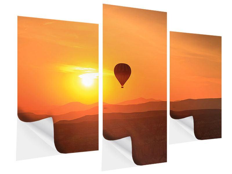 Klebeposter 3-teilig modern Heissluftballon bei Sonnenuntergang