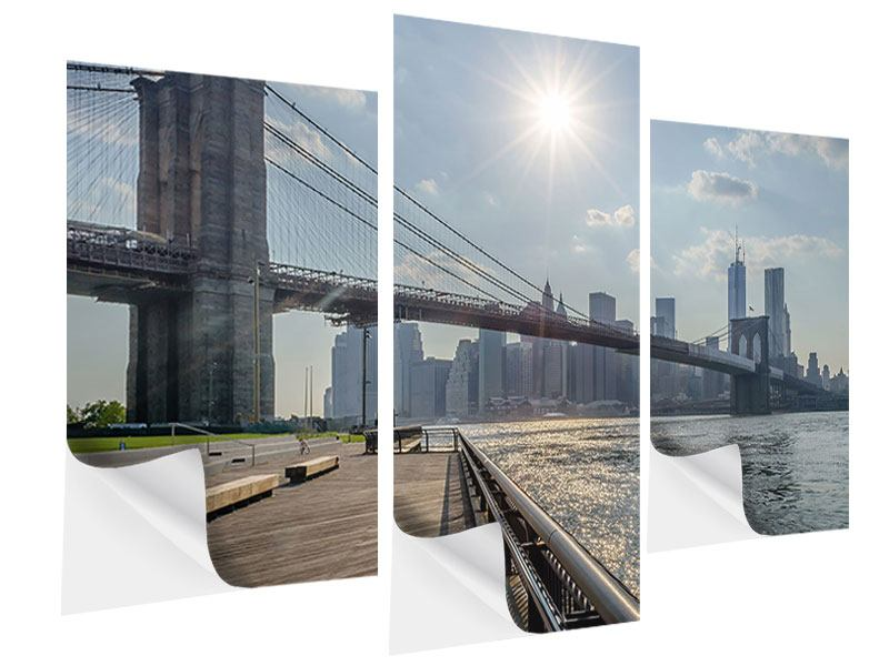 Klebeposter 3-teilig modern Brooklyn Bridge