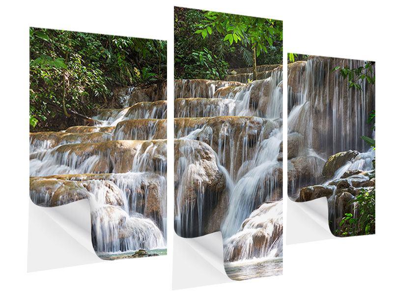 Klebeposter 3-teilig modern Mexikanischer Wasserfall