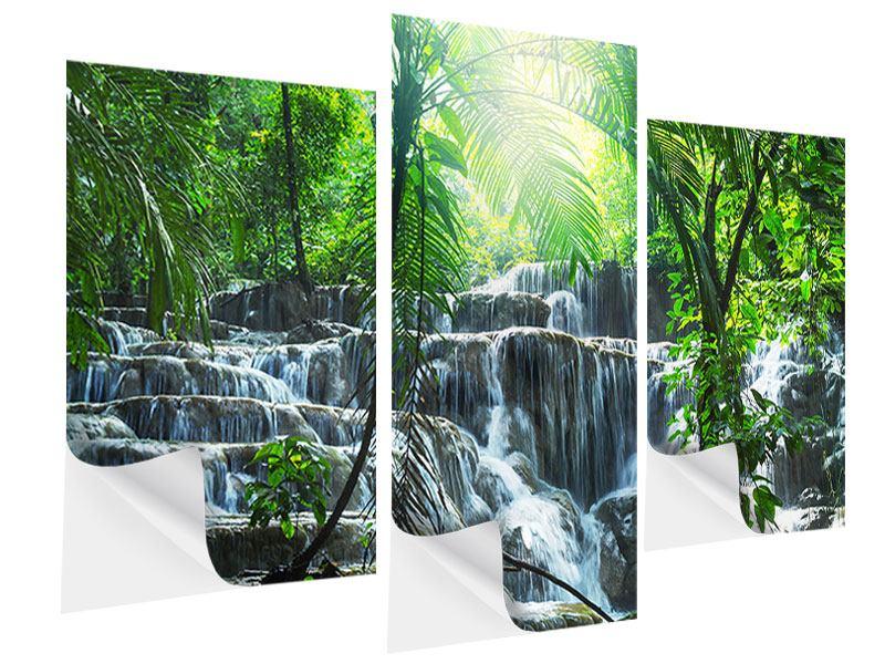 Klebeposter 3-teilig modern Wasserfall Agua Azul