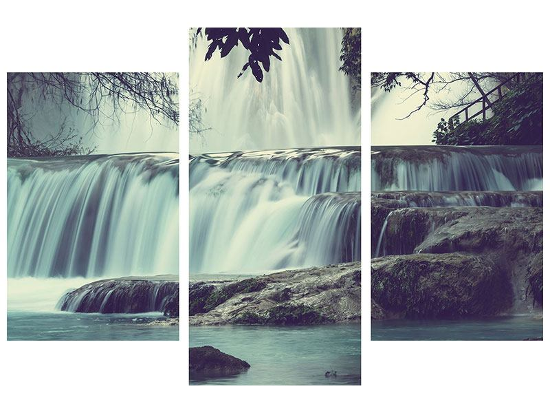 Klebeposter 3-teilig modern Wasserfall Mexiko