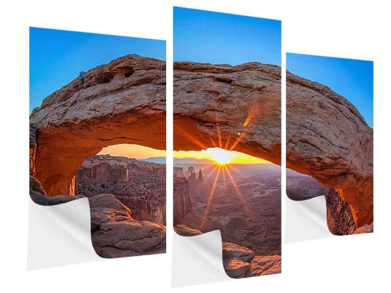 Klebeposter 3-teilig modern Sonnenuntergang am Mesa Arch