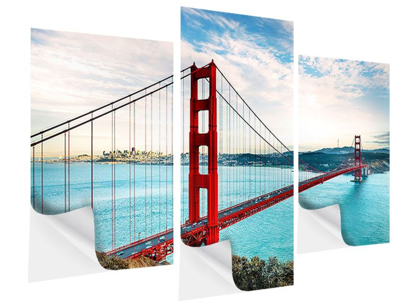 Klebeposter 3-teilig modern Golden Gate Bridge