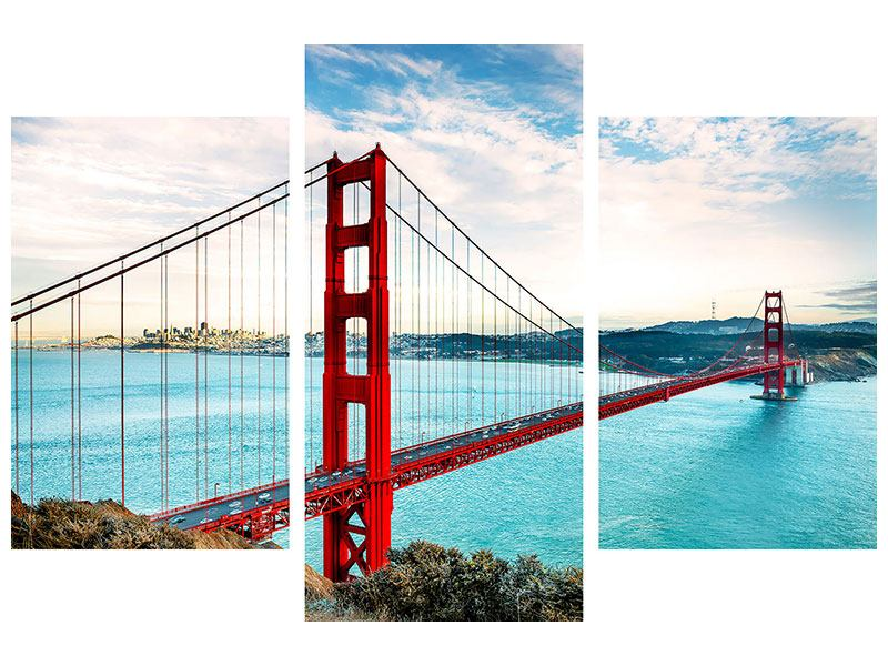 Klebeposter 3-teilig modern Golden Gate Bridge