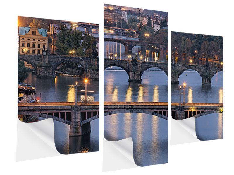 Klebeposter 3-teilig modern Brücken in Prag