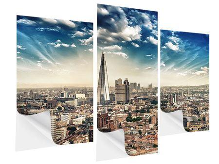 Klebeposter 3-teilig modern Skyline Über den Dächern von London
