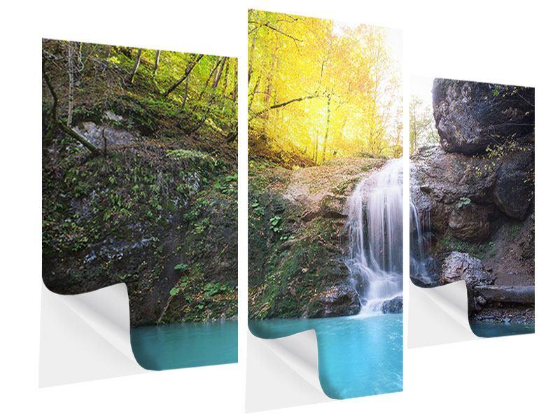 Klebeposter 3-teilig modern Fliessender Wasserfall