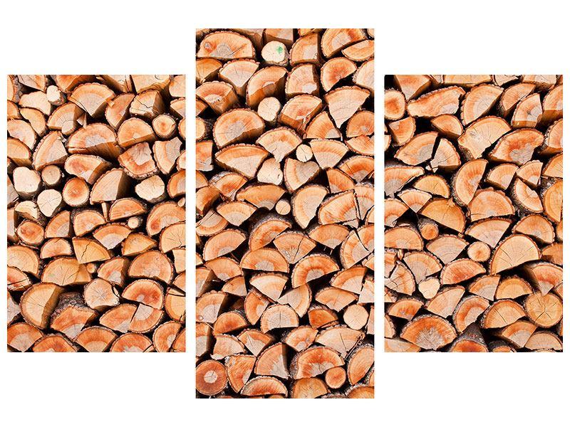 Klebeposter 3-teilig modern Birkenstapel
