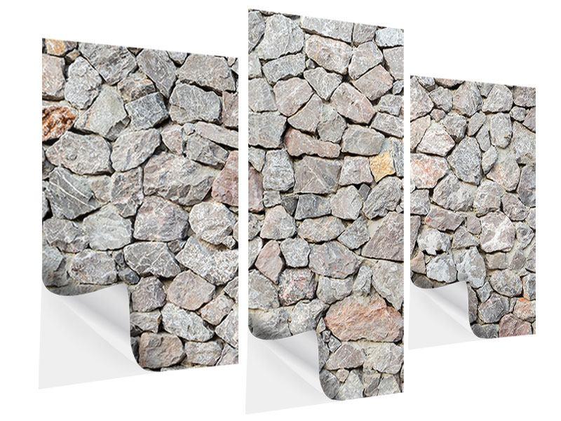 Klebeposter 3-teilig modern Grunge-Stil Mauer