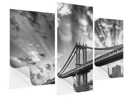 Klebeposter 3-teilig modern Manhattan Bridge