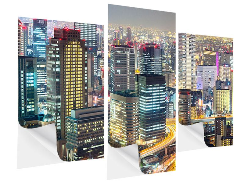 Klebeposter 3-teilig modern Skyline Osaka im Lichtermeer