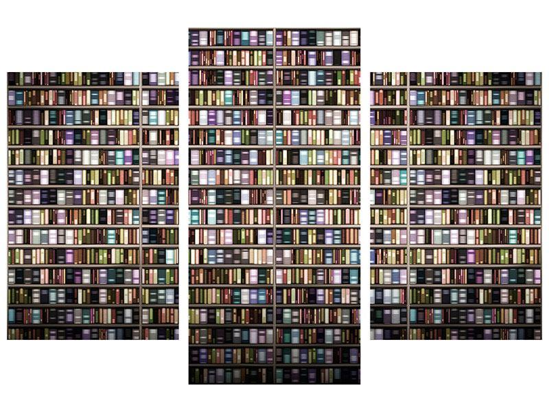 Klebeposter 3-teilig modern Bücherregal