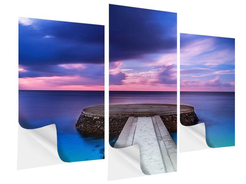 Klebeposter 3-teilig modern Meditation am Meer