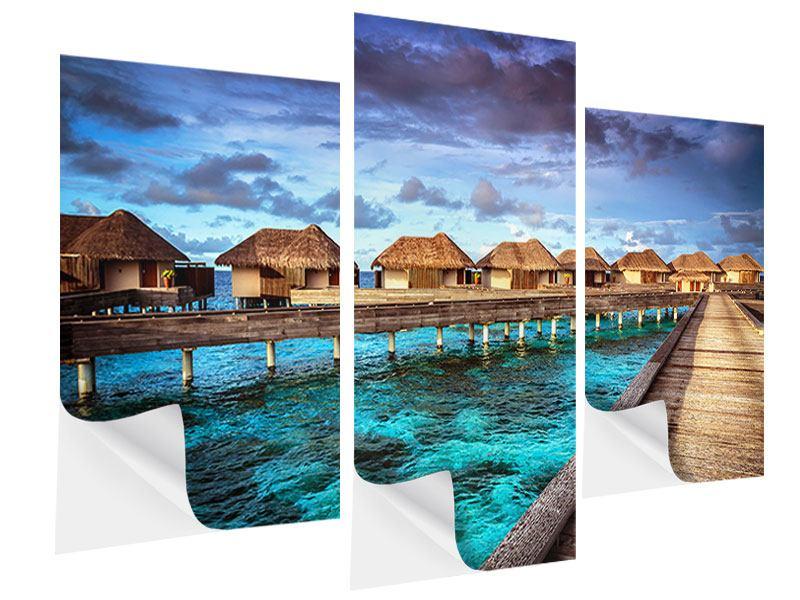 Klebeposter 3-teilig modern Traumhaus im Wasser