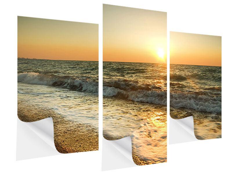 Klebeposter 3-teilig modern Sonnenuntergang am Meer