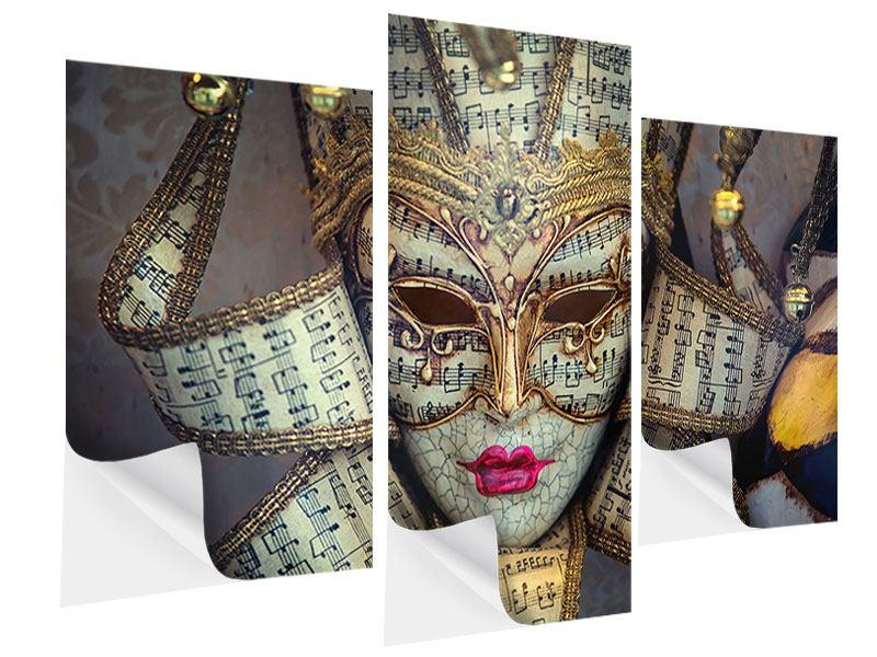 Klebeposter 3-teilig modern Venezianische Maske