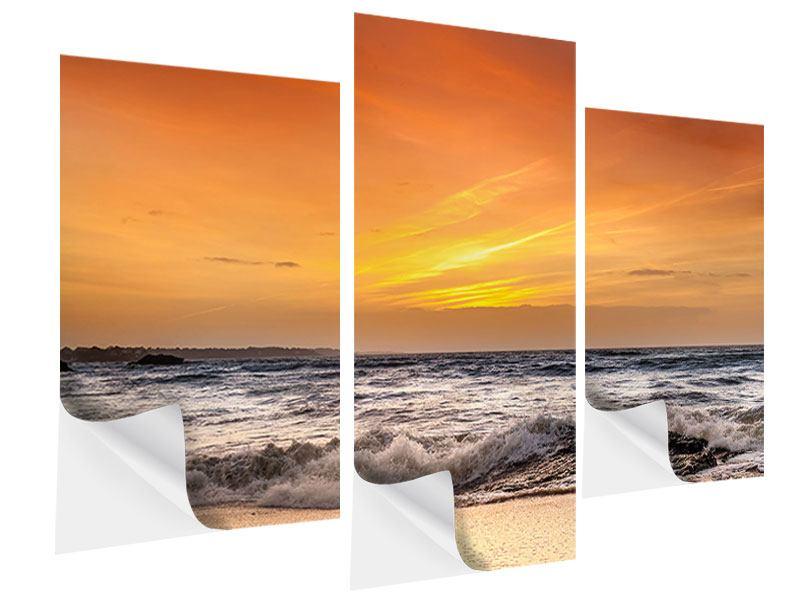 Klebeposter 3-teilig modern See mit Sonnenuntergang
