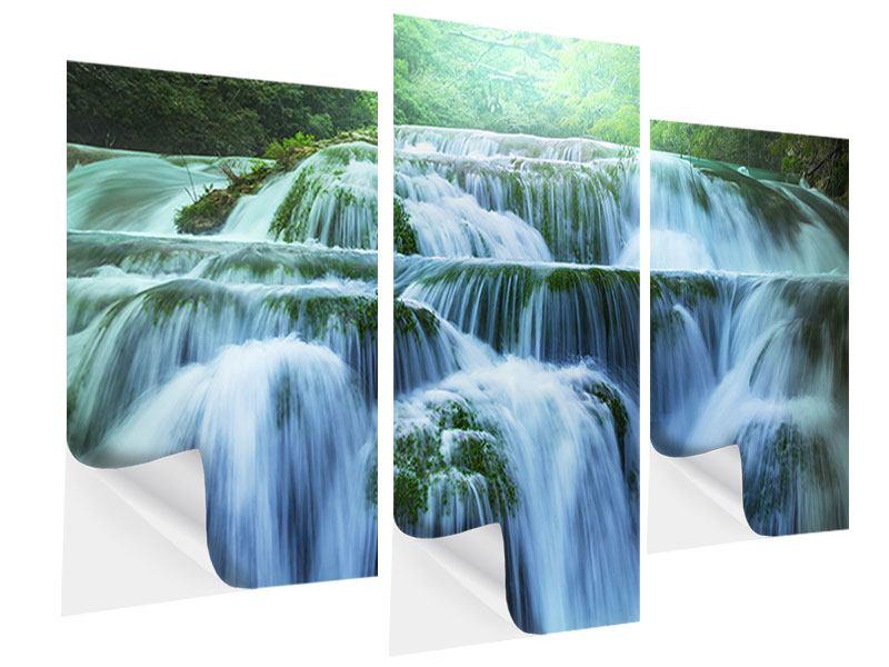 Klebeposter 3-teilig modern Gigantischer Wasserfall