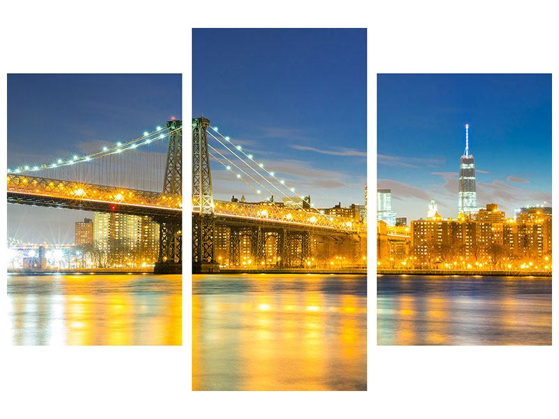 Klebeposter 3-teilig modern Brooklyn Bridge bei Nacht