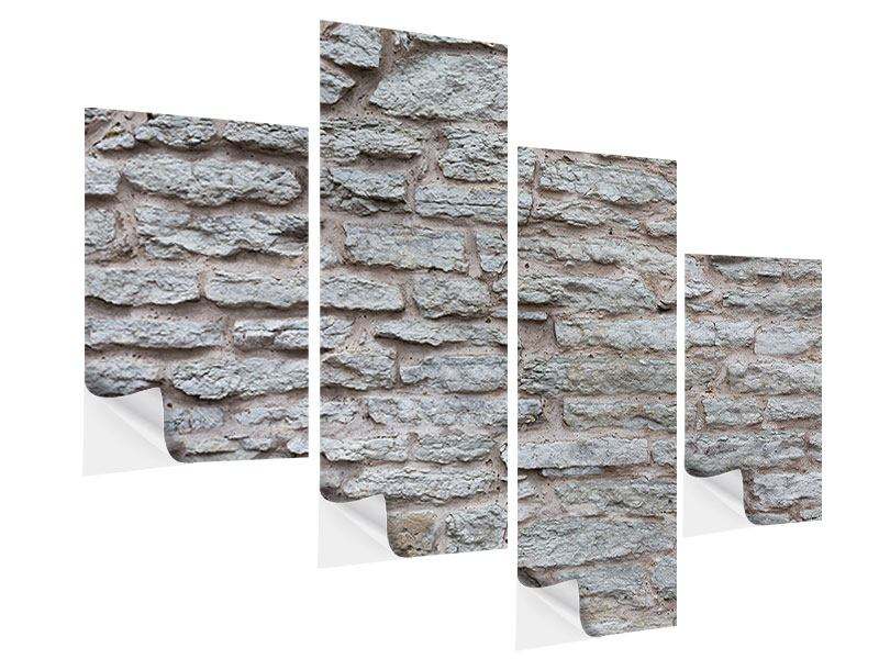 Klebeposter 4-teilig modern Steinmauer